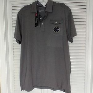 Under Armour gray Notre Dame partial button polo